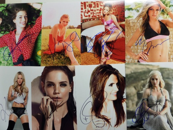 This HUGE lot of celeb-signed 8x10's is ALL female, and ALL super duper SEXY.  Each photo is hand-signed by the vixen pictured, and included are superstars such as Halle Berry, Gina Gershon, Christina Aguilera, Angelina Jolie, Catherine Zeta Jones, Julia Roberts, Meg Ryan, Jessica Simpson, Emilia Clarke, Stana Katic, Jessica Alba, Alyssa Milano, Katie Holmes, Jennifer Aniston, Heather Graham, Scarlett Johansson, Shania Twain, Chloe Moretz, Lauren Cohan, Kristen Stewart, Kaley Cuoco, Sandra Bullock, Leah Remini, Jennifer Lawrence, Kirsten Dunst, Zoe Saldana, Eva Mendes, Alexandra D'Addario, Drew Barrymore, Anne Hathaway, and many,  MANY more!  Retail is WELL into the thousands on this high power star lot!