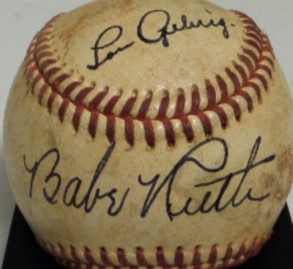 This vintage red-laced baseball is in G+ condition, light soiling evident, and comes hand-signed by the greatest 1-2 punch in MLB history, Yankees HOF'ers, Babe Ruth and Lou Gehrig.  Both signatures are in black fountain pen ink, each grading about a 7, and Ruth is on the sweet spot, with Gehrig on the top panel for fantastic display value.  With both men gone since the 1940's, retail is WELL into the thousands!