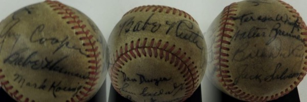 "This vintage red-laced baseball is in G overall condition, and comes black ink-signed by 16 players and actors associated with the classic 1942 film, ""Pride Of The Yankees"".  Included are Babe Ruth (ss), Gary Cooper, Teresa Wright, Walter Brennan, Bill Dickey, Jack Salveson, Babe Herman, Mark Koenig, Dan Duryea, Sam Goldwyn, Lloyd Brown, Al Montgomery, Fred Gay, Bob Meusel, Wayne Osborne and ""Lefty"" O'Doul, with most signatures grading 5.5-6's, and the ball is valued well into the thousands with every last person on this ball deceased!"