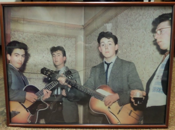 "This very rare, almost 3x4 FOOT color gem is from the late 1950's, and shows Paul, George and John from their first band, the ""Quarrymen"". It comes custom wood framed, actually hung in a Beatles Family home for years, and is now available to you. It is consigned by a friend of Paul's directly, and value is many times our asking price."