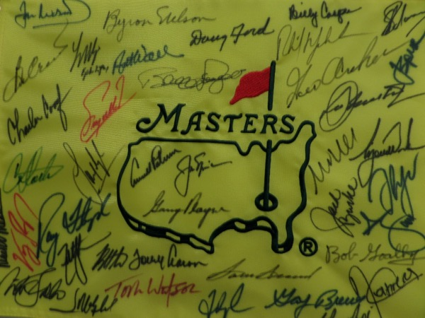 This remarkable sports must have item is a custom embroidered pin flag from Augusta, and comes sharpie signed by over 30 legends, all of whom have won the coveted tourney. I see some amazing names, Tiger Woods, Jack Nicklaus, Arnold Palmer, Gary Player, Ray Floyd, Nick Faldo, Phil Mickleson, Billy Casper, Byron Nelson, Tom Watson, Sam Snead and many, many more! It grades a clean bold 9 all day long, and value with no fillers might be 5 grand.