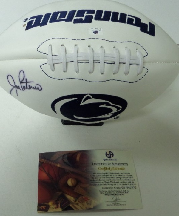 This full size triple white panel football features two different embroidered Penn State logos, and comes hand-signed in black sharpie by their longtime, legendary head football coach, Joe Paterno.  Signature here grades about an 8, is Global Authentics certified (GV590772), and with his death now more than a couple of years back, retail is well into the hundreds!