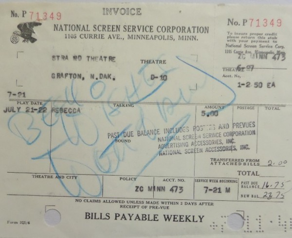 This very old National Screen Service Corporation movie invoice is still in fabulous condition, and is a great 5.5x7 size for framing and display!  It is hand-signed in blue artist's pencil by entertainment icon, Walt Disney.  Signature grades about a 6, but is large, and includes Best Wishes.  Valued well into the thousands!