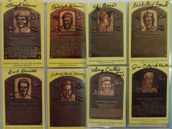 This HUGE collection is 73 hand signed 4x6 HOF plaques, and includes many deceased greats. All come front signed, 98% in black sharpie, and names include Jimmy Foxx, Willie Mays, Joe DiMaggio, Randy Johnson, Nolan Ryan, Catfish, Yogi, Whitey, Lefty Gomez, Seaver, Spahn, Aaron Frisch..and many, many more!!! Great chance, a Heritage Auction LOA accompanies, and value is sky high!