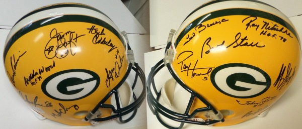 This mint, full-sized Riddell team helmet comes IN PERSON signed by many, and grades a superb 10 all over. I see some amazing names here, a few are now deceased, and 90% are HOF Greats! Names include Bart Starr, Paul Hornung, Brockington, Nitschke, Dowler, Sterling Sharpe (Tough), Adderley, James Lofton, Willie Wood, Dave Robinson, Antonio Freeman and more. Great piece, easy to show off, and guaranteed authentic by us forever!