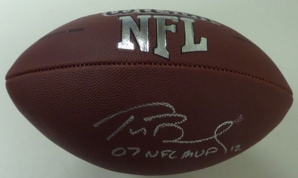 "This Wilson NFL ball is in mint shape and comes signed in silver by this future HOFer with his #12 and ""07 NFL MVP"" included!  Gorgeous display ball and retails in the high hundreds++.  Ideal for any football collection!"