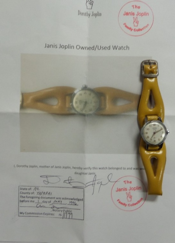 This very rare rock n' roll item is her own watch, you can see her wearing it in certain photos, and comes right from her mother for certain authenticity. It is a vintage model, has a 1965 vibe groovy leather band, and comes with a notarized COA, hand signed by her own mother for iron clad authenticity.