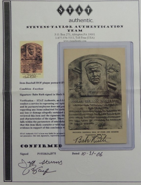 This vintage B&W HOF plaque was sold at the HOF gift shop in Cooperstown, and comes black ink signed across the bottom by THE Babe Ruth!! It is a real gem, comes with a full Ted Taylor Stat Authentic LOA intact, and value is thousands on the Lee ok'd piece.