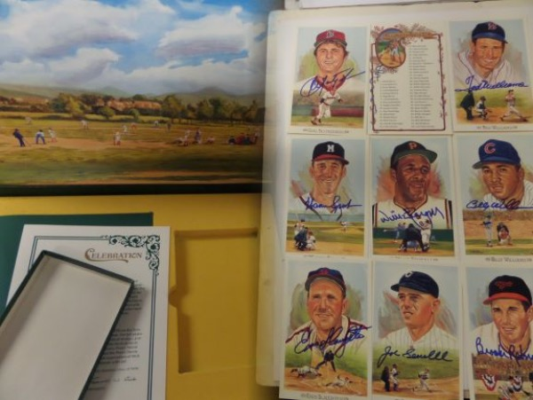 This amazing lot is perfect for fans, dealers and collectors, and valued well into the thousands. It is the full color set, has every single possible postcard signed in bold sharpie, and grades a bold clean 10 all over. Signers include Yaz, Aaron, Bench, Dickey, Banks, Bell, Berra, Catfish, Roy Campanella, Kaline, Killebrew, Lopez, Mantle, McCovey, Musial, Reese, Spahn, Stargell, Ted Williams and more! In fact, only THREE are unsigned, Bill Terry, Lefty Gomez  and Judy Johnson-Amazing!