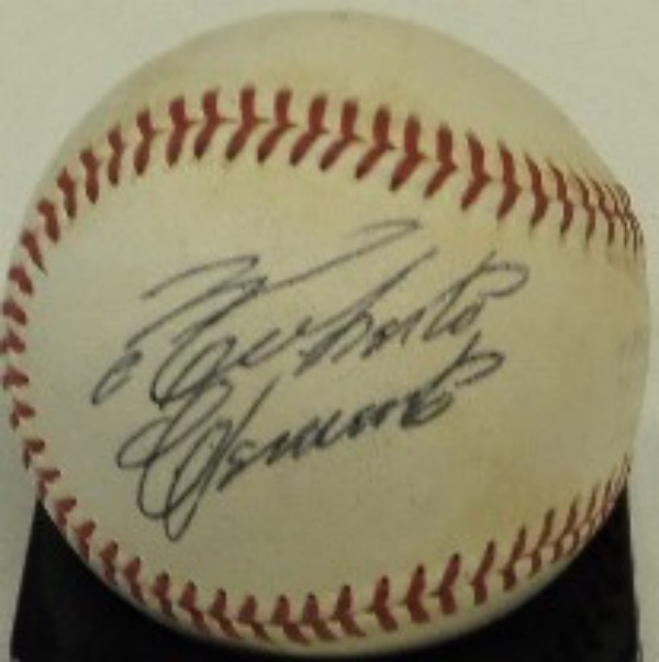 This vintage Official National League Baseball from Spalding is in VG+ condition overall.  It is hand-signed on a side panel in black ink by this all time great and HOF Pirates outfielder, his signature grading a bold, legible 7 at least.  The ball is a real looker, ready for display, and is valued at 250 TIMES our minimum bid!!!!