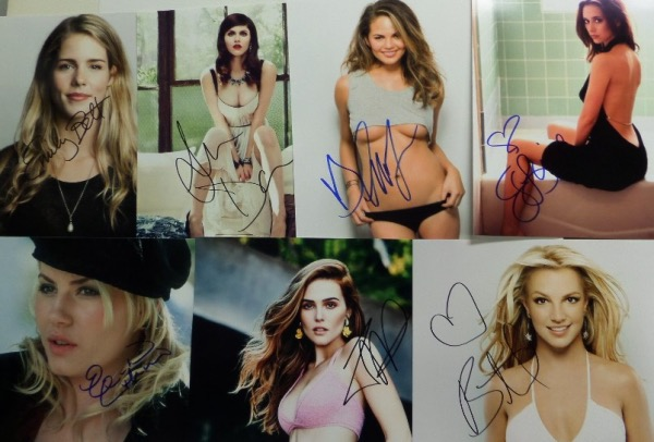 This super duper high value group lot is ideal for dealers, and includes no less than FIFTY different 8x10 photos, each hand-signed by the SEXY female celeb pictured.  Included are Jennifer Love Hewitt, Emily Blunt, Megan Fox, Angelina Jolie, Jennifer Connolly, Miley Cyrus, Emilia Clarke, Jessica Biel, Kate Hudson, Alexandra D'Addario, Elisha Cuthbert, Gal Gadot, Mariah Carey, Julia Roberts, Jennifer Lopez, Britney Spears, Selena Gomez, Kate Winslet, Mira Sorvino, Jessica Simpson, and many more.  Retail is easily into the thousands!