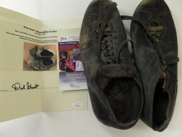 This amazing attic find is a well used black leather pair of spikes, and were worn in 1955, his rookie season in Pittsburgh. A hand signed letter, JSA approved from teamate Dick Groat accompanies, and value is thousands!!! A neat note comes from Groat adds to this lot, and if your a fan of his, or the team, act fast-you'll never see another pair!