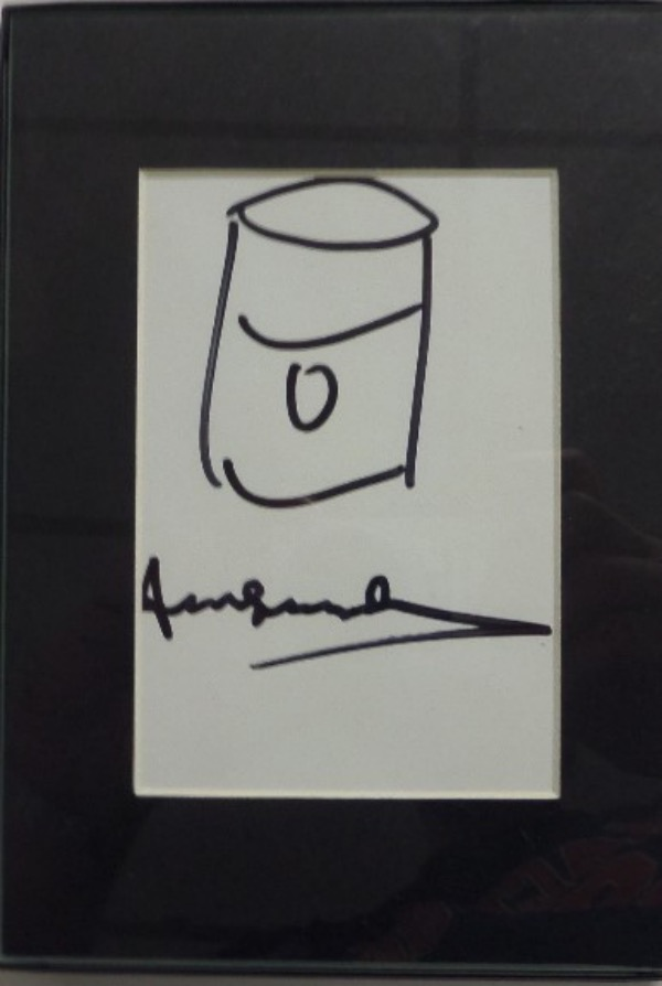 This high value, all by hand sketch is about 5x7 after matting and framing and shows his famous, basic Campbell's Soup Can.  It is a black marker 10, comes hand signed as well by the long gone NYC pop artist, and comes matted and framed to you as an added bonus. Great piece, easy art investment, and just look at the always low reserve pricing.