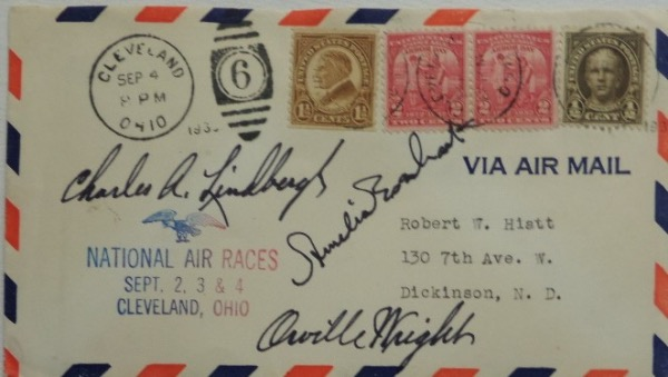 "This vintage dated, stamped and cancelled envelope is from the famed 1930's ""National Air Races"" held in Cleveland Ohio, and comes hand signed by Charles Lindbergh, Amelia Earhart and Orville Wright, all of whom were in attendance. Great piece, a very scarce one of a kind we're sure, and value on this 8 is thousands!"