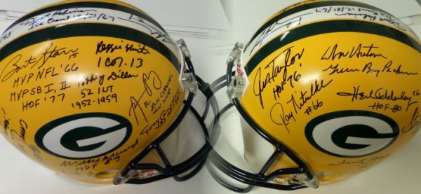This super NFL collectible is a mint full-sized Riddell helmet, and comes hand signed by about 30 mostly former stars, legends, fan faves and HOF'ers. I see autographs from the likes of Reggie White, Aaron Rodgers, Bart Starr, Wood, Davis, Lofton, Canadeo, Brett Favre, Dave Robinson, Adderley, Gregg, Kramer, Hornung, Jim Taylor, Ray Nitschke and even some guy named Don Hutson!!! No filler names on here, just Lambeau Greats, and value with Lee's added approval is thousands!!!