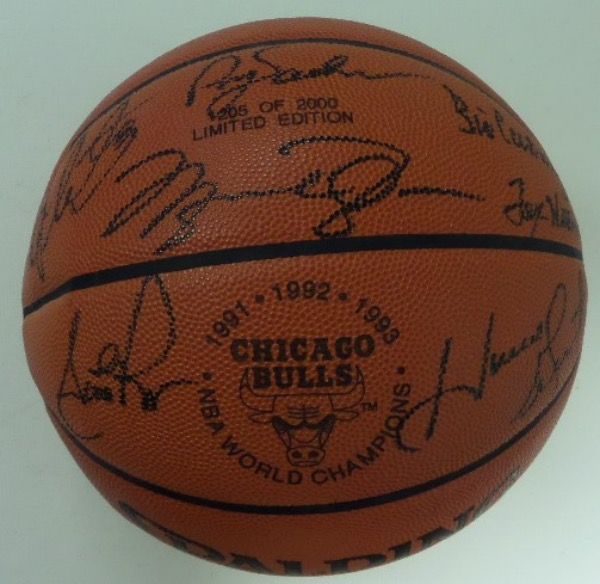 This mint, full-sized, all leather gem is from Spalding, and comes black marker signed by all 5 starters, plus Phil Jackson and T. Winter. It grades a 10 all over, of course Jordan and Pippen are on here, and the ball has the team 1991-93 logo emblazoned as well. It is a long sold out numbered limited edition, and value is about $2200.00.