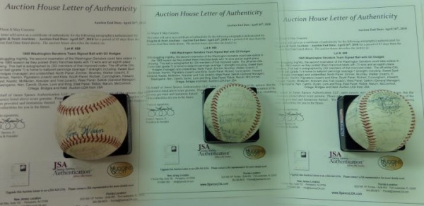 This gorgeous collector's item is an Official American League Baseball from Reach, still in EX/EX+ condition, and hand-signed all over in blue and black ink by no less than 30 members of the 1965 Senators.  Included are Manager Gil Hodges on the sweet spot, as well as notables like Don Zimmer, Rube Walker, Eddie Brinkman, Joe Pignatano, Frank Howard, Ed Yost, GM George Selkirk, Ryne Duren, and many more.  Comes with a full LOA from JSA for authenticity, and retail is easily high hundreds on this RARE item!