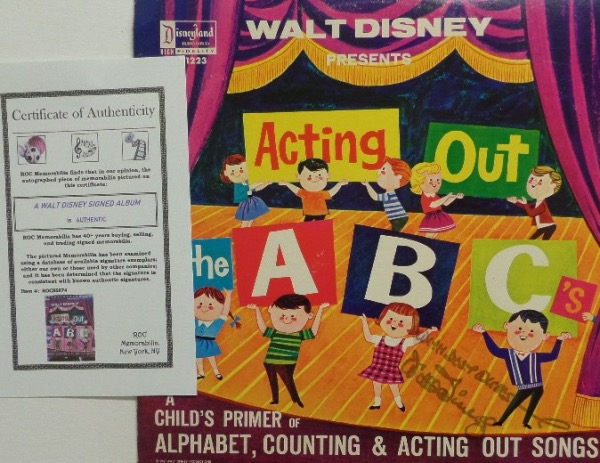 "This original ""Acting Out the ABC's"" LP album is in EX shape overall, and comes front cover-signed in black felt tip marker by animator/innovator, Walt Disney.  The signature has faded over the years, grading about a 6, with With Best Wishes added.  Comes with a COA from ROC Memorabilia for certainty, and retail is low thousands!"