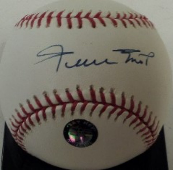 "This Official ML baseball from Rawlings is in EX condition, and comes sweet spot signed in blue ink by baseball's greatest living player, the incomparable Willie Mays.  The signature grades a legible 8.5, and the baseball includes a hologram from Willie's ""Say Hey"" company for rock solid authenticity!"