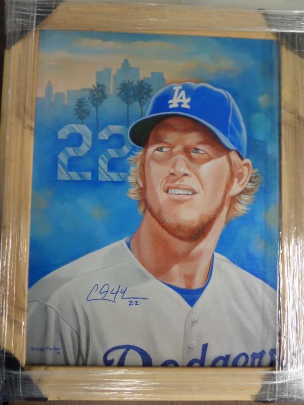 This superb Packer work is huge at almost 2x3 FEET in size, shows the future HOF pitcher in a color, custom image, and is all done by hand! It is framed in wood, dated by the famous artist from 2017, and is even blue sharpie signed by Kershaw who loved the work, and requested one for himself! It is a 10 all over, and shows off well from 60 feet away! Yes, It's that big!