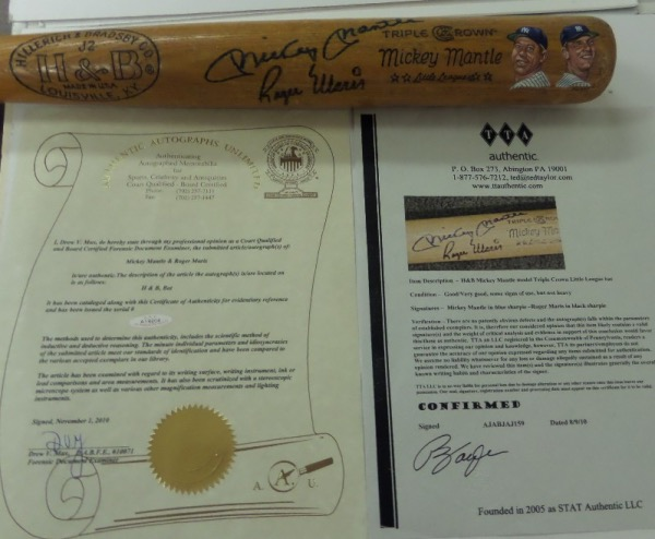 "This vintage H&B Mickey Mantle bat comes not only hand signed by BOTH ""M&M Boys"" on the barrel,  but with a custom Gregg Packer had painted likeness evident as well. It is a superb Yankee showpiece, value is priceless, and a 2010 TTA Authentic lifetime LOA accompanies too. This is a Yankee fans dream piece, and sells, as usual, with NO reserve!"