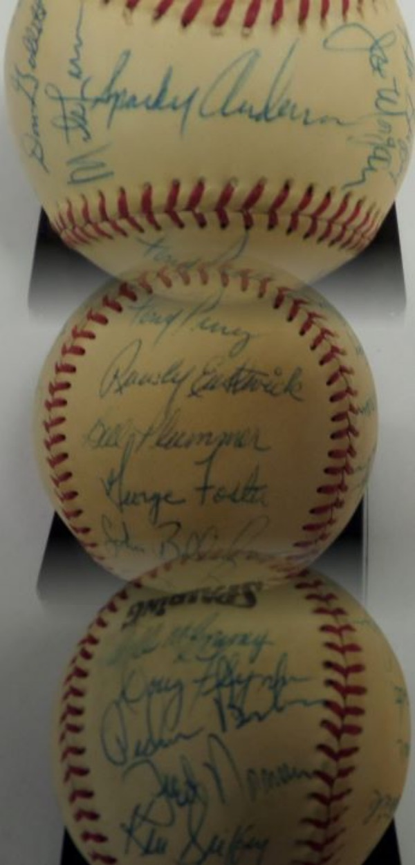 "This ""Official"" Spalding baseball comes to us in EX condition overall, and is hand-signed in blue ink by HOF Manager Sparky Anderson, and 22 of his World Champion '76 Reds.  Included are Johnny Bench, Don Gullett, Tony Perez, Rawly Eastwick, George Foster, Dan Driessen, Pete Rose, Pat Zachary, Cesar Geronimo, Ken Griffey, Pedro Borbon, and more, and this MUST HAVE Big Red Machine item is valued well into the thousands!"
