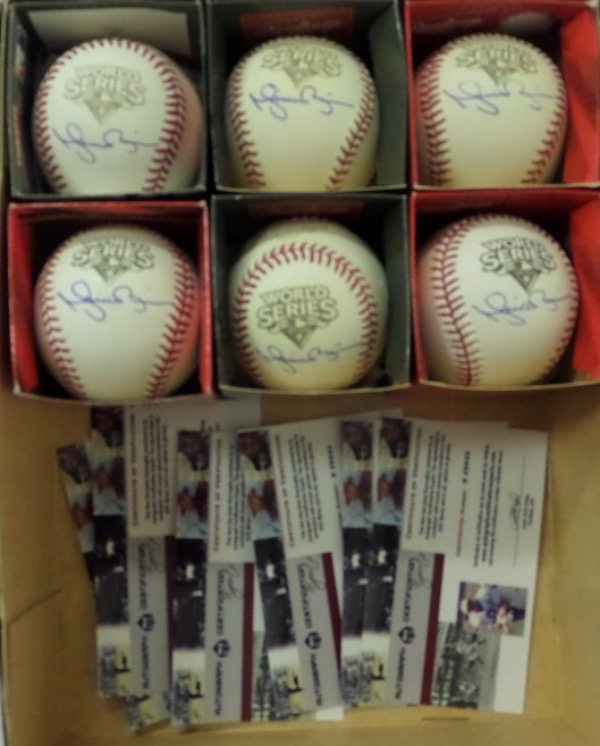 This HOF grouping is SIX different Official 2009 World Series Baseballs from Rawlings, ranging from VG to NM condition.  Each ball is side panel-signed right beneath the World Series logo in blue ink by HOF Yankees closer, Mariano Rivera, and each ball comes individually certified by Autograph Certification Experts (ACE) for authenticity!  Total retail here is well into the thousands!