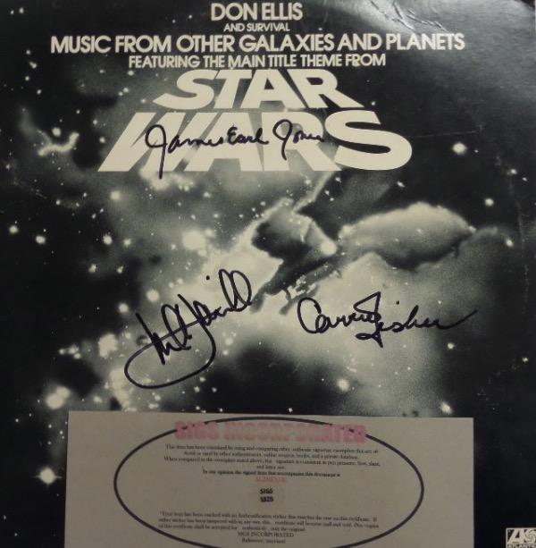"This original ""Star Wars"" album is from 1977 and still in EX overall condition.  It is black sharpie-signed by three of the biggest stars from the phenom film franchise, including Mark Hamill, Carrie Fisher and James Earl Jones, and includes a COA from Sigs Incorporated for authenticity purposes.  Valued into the high hundreds!"