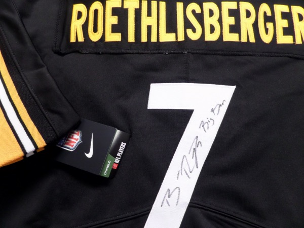 This mint black Pitt Steelers jersey is authentic style and NICE!  It comes signed on the back number by this future HOF quarterback with his #7 and his nickname Big Ben included!! Great for the Steeltown fan and high retail as he will be in Canton someday and as i type this in November they are undefeated this year!!