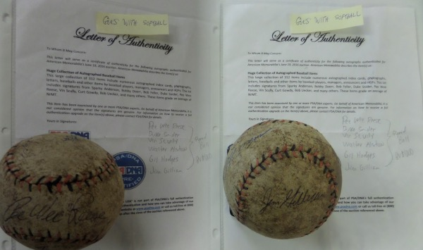 "This very old red and black-laced softball is in F/G overall condition, and comes hand-signed all over in black and blue inks by 6 different Dodgers all time greats!  Included are Pee Wee Reese (ss), Duke Snider, Vin Scully, Walt Alston, Gil Hodges and Jim Gilliam.  Signatures here grade mostly 5's-6's, and ""Pre Certified"" paperwork is issued from PSA/DNA for authenticity.  With 4 in the Hall of Fame, and 5 no longer living, retail is low thousands, easily!"