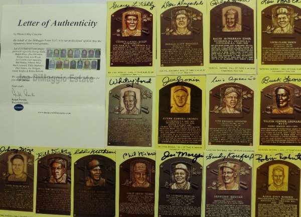 This outstanding group lot is FIFTEEN different gold Hall of Fame plaque postcards, and each is hand-signed by the all time great depicted.  Included are George Kelly, Ralph Kiner, Don Drysdale, Whitey Ford, Lou Brock, Joe Cronin, Luis Aparicio,, Bill Dickey Johnny Mize, Buck Leonard, Eddie Mathews, Phil Niekro, Joe Morgan, Sandy Koufaz, and a full LOA is presented from The Joe DiMaggio Estate for authenticity purposes.  Valued into the thousands, with with most now deceased!