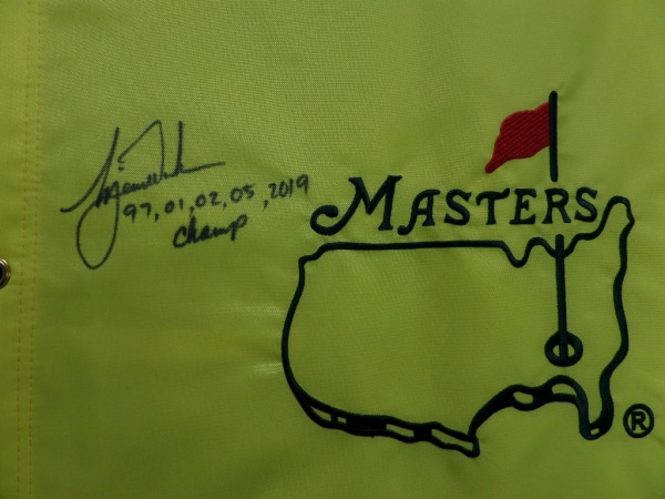 This mint, real pin flag is from Augusta, site of the tournament, and comes hand signed by THE Tiger Woods!!! It grades a bold 8 in black sharpie, has the 5 years that he won written and listed, and value can reach thousands on the reluctant signer. Solid buy and hold investment, in the still ever popular star!
