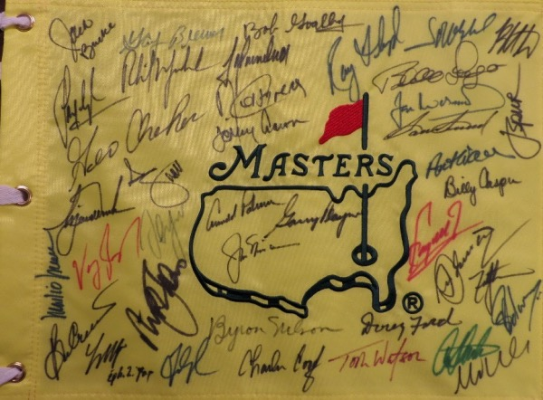 This yellow Masters pin flag is in MINT condition, and comes hand-signed in black, blue, green and red sharpie by 40 past champions of the major tournament.  Included are Palmer, Nicklaus, Mickelson, Woods, Nelson, Snead, Floyd, Weir, Langer, Crenshaw, O'Meara, Casper, Cabrera, Immelman, Ford, Zoeller, Singh, Watson, Player, Faldo, Goalby, and many more, and with so many legends on one piece, retail is THOUSANDS!