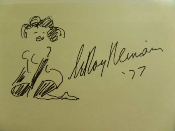 "This 1977 dated 5x7 large index card comes not only black marker signed by the late sports artists, but has an original NUDE lady sketch appearing as well. It is all from his hand, value is thousands, and his originals ""anythings"" are impossible to find!!!"