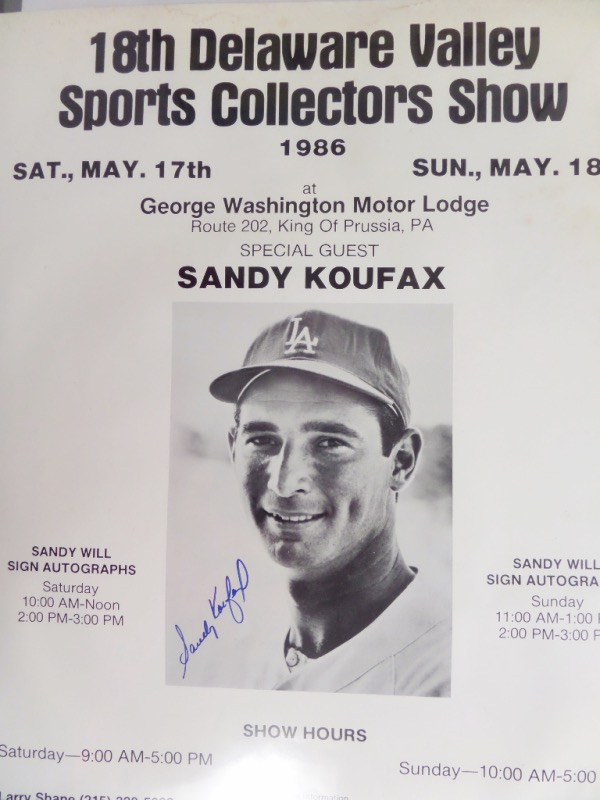 This very large, all original poster is dated from a 1986 show where Sandy signed autographs, and comes blue sharpie signed by the tough HOF pitcher himself. It comes right from show promoter Larry Shane for certainty, the autograph is a 10 all over, and size is a super-sized 22x28. It is a rarity that we fully lifetime guarantee, and just look at the minimum bid.