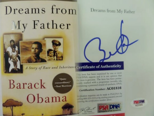 "This original ""Dreams From My Father"" softbound book is in NM condition, and comes beautifully inner title page-signed in blue sharpie by President #44 himself.  This is a fantastic signature, grading a strong 9 overall, and the book includes a COA/sticker from PSA/DNA (AC01816) for authenticity purposes.  Valued into the low thousands!"
