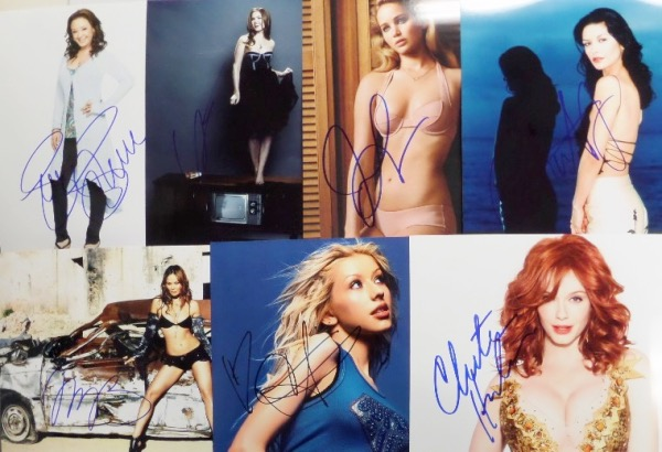 Entertainment dealers will want to get in on this drool-worthy lot of ONE HUNDRED different 8x10 photos, each an image of a SEXY female celeb.  Each is hand-signed by the hot to trot lady pictured, and included are HUGE names like Gwen Stefani, Leah Remini, Miley Cyrus, Penelope Cruz, Hayden Penatierre, Sarah Michelle Gellar, Megan Fox, Marisa Tomei, Heather Graham, Jennifer Lawrence, Julia Roberts, Alexandra D'Addario, Christina Hendricks, Catherine Zeta Jones, Selena Gomez, Uma Thurman, Tina Fey, Reese Witherspoon, Anna Kendrick, Kristen Stewart, Kate Hudson, Drew Barrymore, Gigi Hadid, Elisha Cuthbert, Gwyneth Paltrow, Jessica Alba, Jennifer Love Hewitt, Elizabeth Shue, Claire Danes, Kaley Cuoco, and so many more.  Retail on this grouping could potentially be mid thousands or more!