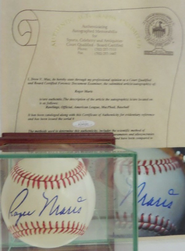 This Official American League Baseball from Rawlings is in EX/EX+ condition, and sits in a stunning wood based, mirrored Steiner display case.  It is hand-signed in bold blue ink on the sweet spot by 2 time AL MVP Roger Maris, and comes with a full photo LOA from AAU for authenticity.  Ready for display, and valued into the low thousands!