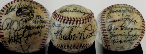 This very old red and black-laced Spalding baseball comes hand-signed in black fountain pen ink by  22 members of the 1934 American League All Star team.  Included are Babe Ruth and Walter Johnson both on the sweet spot, Lefty Gomez, Bill Dickey, Mickey Cochrane, Lou Gehrig, Charlie Gehringer, Joe Cronin, Jimmie Foxx, Lefty Grove, Al Simmons,Heinie Manush,Ruffing,Grove,Foxx,etc!!.  Signatures grade 5's-7 in general, and with all deceased, and with over a dozen enshrined in Cooperstown, we can only imagine the retail potential!