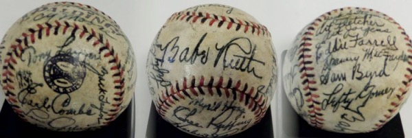 This vintage red & black laced ball is in VG shape and comes signed in gorgeous black inks by 25 members of this legendary squad! The sig's stand out wonderfully and included are ALL of the big names like RUTH, GRIMES, DICKEY, RUFFING, CROSETTI, MCCARTHY, SEWELL,GEHRIG, LAZZERI, GOMEZ,COMBS, ETC.. Valued at 100X our low opening bid++.