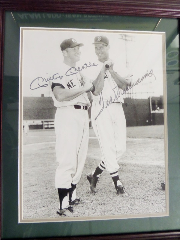 This very rarely seen pose shows both late HOF sluggers posing, bats in hands, and in full Boston/NY uniforms. It may be a spring training shot, comes black sharpie signed by both from the 80's, and comes with Lee's own approval for certainty. It comes to you custom double matted, wood framed and in the large 16x20 size..wow!