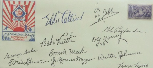 This super rare, super cool 1939 envelope comes dated and stamped from the 1st ever HOF Induction...and comes hand signed by all 11 original Inductees. It grades a strong clean 10 all over, has autographs from Babe Ruth, Ty Cobb, Walter Johnson, Honus Wagner, Tris Speaker, Eddie Collins, Cy Young and more...Terrific buy and hold HOF investment, and value is thousands in cuts alone.