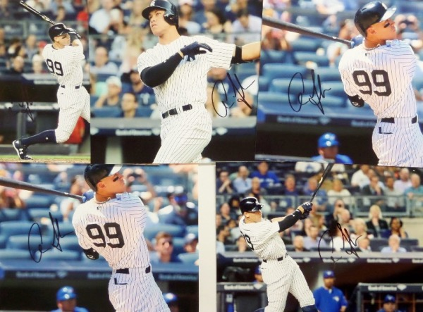 This brand NEW opportunity is a grouping of 5 full color photos, each featuring an image of Yankees super stud, Aaron Judge.  Each is hand-signed boldly in black sharpie by the star outfielder himself, and each can retail well into the hundreds!